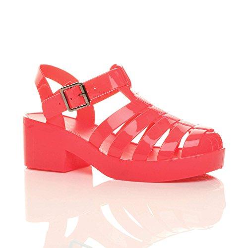 90s Retro Jelly Ajvani Block Size Watermelon Coral Mid Women Heel Sandals A671Xw