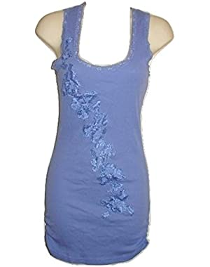 GUESS WOMEN SMOKED COTTON BLOUSE LACE CAMI CAMISOLE TOP BLUE VIOLET S