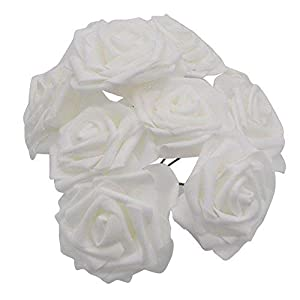 YONGSNOW Artificial Flowers PE Foam Roses 50 Pcs for DIY Wedding Home Party Decor, Real-Touch Bouquet 1