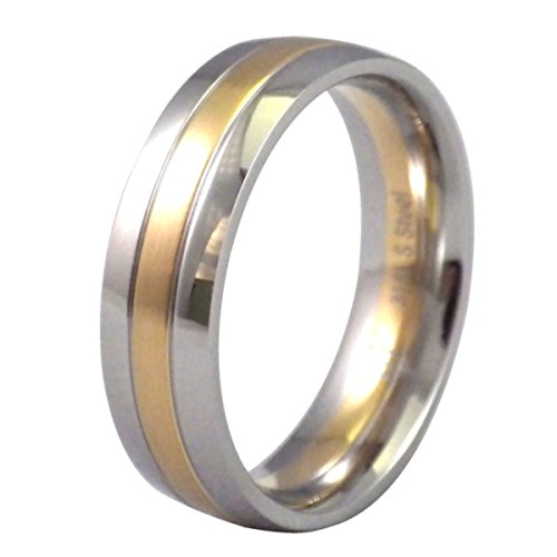 Bureau Silver Gold (Fantasy Forge Jewelry Two Tone Silver Gold 316L Stainless Steel Wedding Ring 7mm Wide Band Size 11)