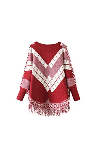 Women 's Winter Warm Casual Cuello Redondo Scoop Borla Con Flecos Hem CAPA CHAL Tejer Patrones Geométricos Sweatershirts Wrap Poncho Bat Red