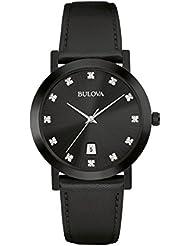 Bulova Diamond Three-Hand Black Leather Mens watch #98D124