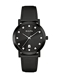 Bulova Men's 98D124 Timeless Diamond Black Dial Quartz Watch