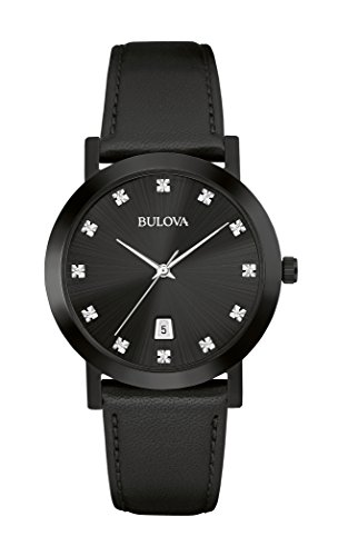 Bulova Mens 98D124 Timeless Diamond Black Dial Quartz Watch