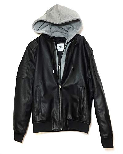 Used, Zara Men Contrasting Faux Leather Jacket 8281/462 (Large) for sale  Delivered anywhere in USA