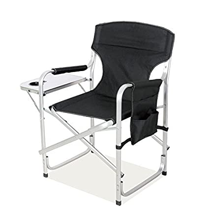 Snail Heavy Duty Aluminum Frame Full Back Foldable Directoru0027s Chair Picnic  Camping Chair With Side Table