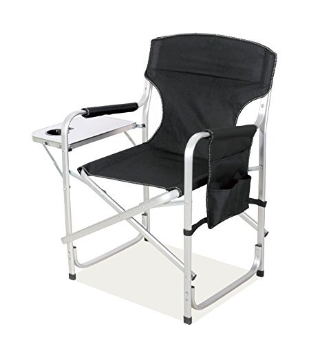High Back Aluminum Frame (SNAIL Heavy Duty Aluminum Frame Full Back Foldable Director's Chair Picnic Camping Chair with Side Table -- Foam Arm Rests for Comfort, Black)