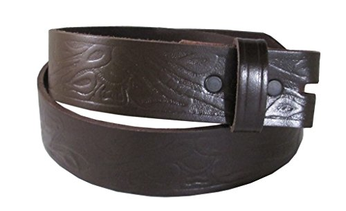 Western Embossed Belt for Buckles 100% Top Grain One Piece Leather, Made in USA (medium, brown)#2020 …