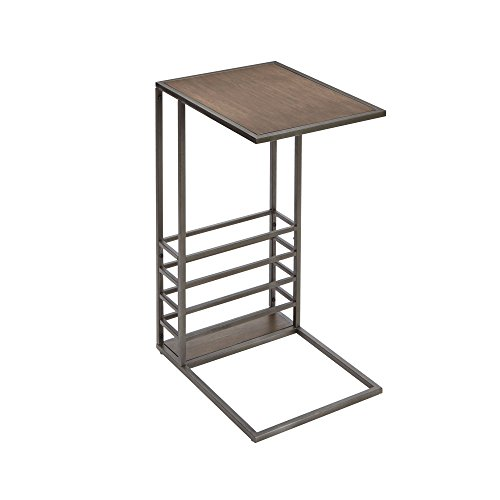 Review Silverwood FT1265-COM Brycen Wood and Metal End Table Magazine Holder, 16″ L x 12.5″ W x 24″ H, Gunmetal