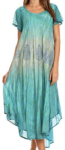 Sakkas 17802 - Samira Color Block Printed Sheer Cap Sleeve Relaxed Fit Dress | Cover Up - Teal - OS