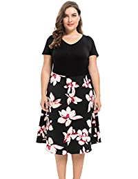 Women's Vintage Style Plus Size Floral Printed Dress 1X-4X