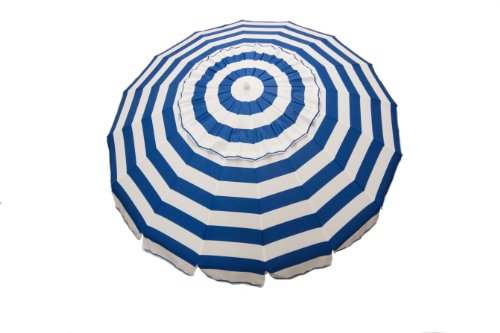 DestinationGear 1432 8' Royal Blue and White Stripe Deluxe Beach and Patio Umbrella