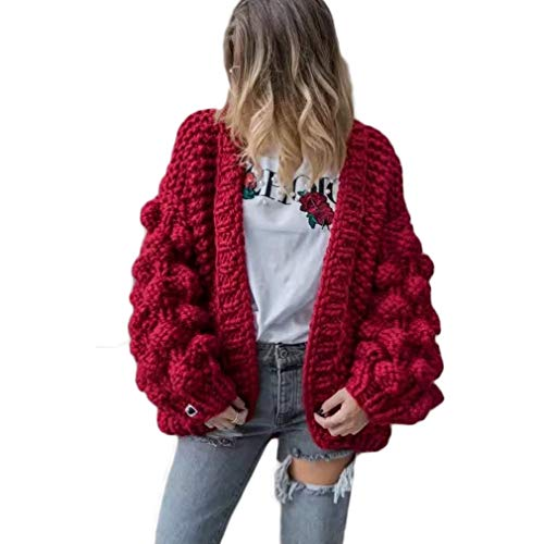 - Women Cardigan Sweater Hand Knit Pom-Pom Dress Sexy Open Front Warm Red