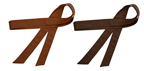 Women Obi Belt Fashion Solid Color PU Leather Wide Waist Band 70 Inch in Extra Size (pack of 2(tan (Classic Solid Wide Band)