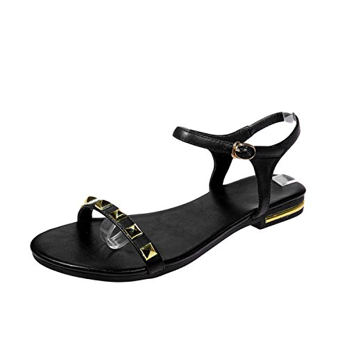 Leather Footwear Flat Sole Sandals Shoes Rivet Fashion Casual Girl Shoes,Black,9 (Leather Euro Shoe Golf)