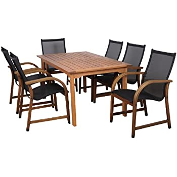 amazonia bahamas 7 piece eucalyptus rectangular dining set outdoor and patio. Black Bedroom Furniture Sets. Home Design Ideas