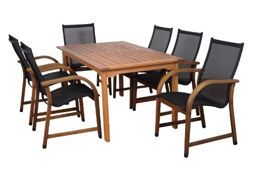 amazonia bahamas 7 piece eucalyptus rectangular dining set. Black Bedroom Furniture Sets. Home Design Ideas
