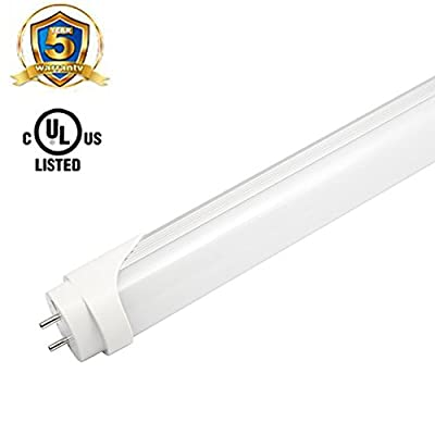 LEDHOLYT T8 4ft 18W(36W equivalent) LED Light Tube, Dual Ended Power, Frosted Cover, UL-Listed 5000K (Crystal White Glow)