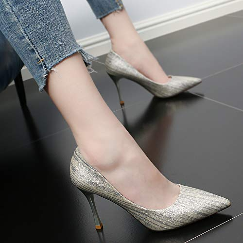 Heel Fine Commuter Shallow Pointed Sexy Heel High Gun SFSYDDY Matching Single Female 9Cm Summer Stripe Shoes Shoe Color Fashion color qBnwfRxXC