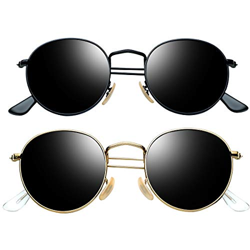 Round Sunglasses for Men Polarized Wearpro Vintage Womens Men's Sun Glasses Hippie Retro Small Circle Glass (Black black + gold black)