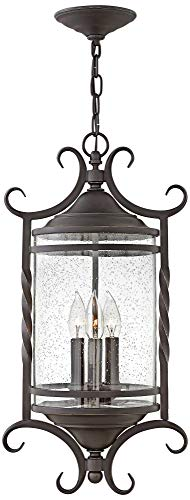 (Hinkley 1147OL-CL Casa Outdoor Pendant, 3-Light 180 Total Watts, Olde Black)