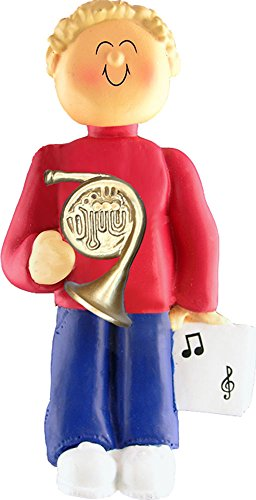 - Music Treasures Co. Male Musician French Horn Ornament (Blonde Hair)