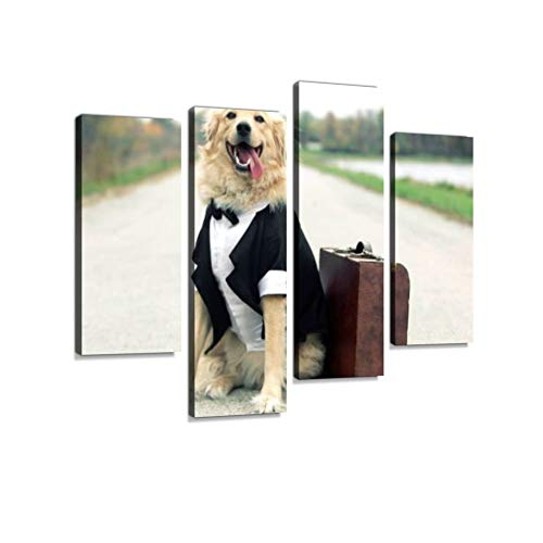 Traveling Tuxedo Dog Canvas Wall Art Hanging Paintings Modern Artwork Abstract Picture Prints Home Decoration Gift Unique Designed Framed 4 Panel