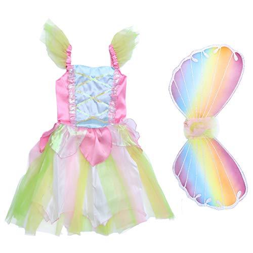 Fenical Disfraz de Princesa de Hadas para niñas Conjunto de Disfraces Disfraz de ala Falda de Malla mágica Vestido de tutú...