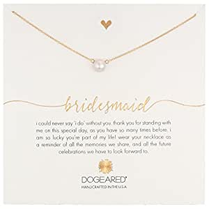 "Dogeared ""Bridal"" Bridesmaid Gold White Button Freshwater Cultured Pearl Necklace, 16"""