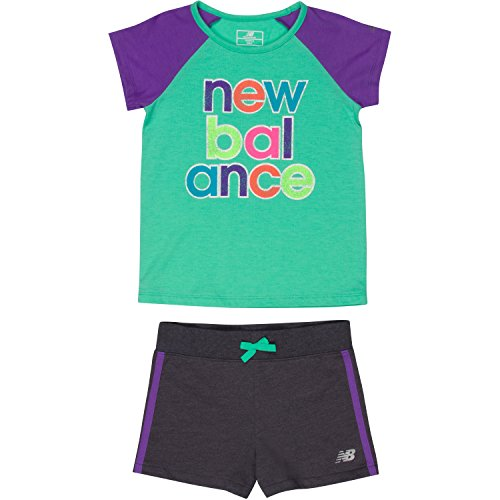 New Balance Toddler Girls' Performance Tee and Short Sets, Jade/Violet/Gray, 4T