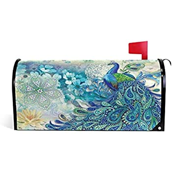 Bruyu5se Peacock Elegance Magnetic Mailbox Cover 21 x 18 Inches Waterproof Canvas Mailbox Cover