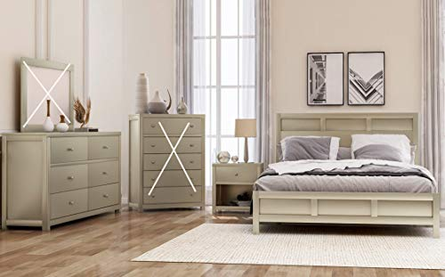 Bedroom SOFTSEA 3-Piece Bedroom Set Farmhouse Style, Featuring Modern Style Platform Bed, Matching Nightstands and Dresser… modern bedroom furniture sets