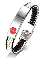 JF.JEWELRY Medical Alert ID Bracelets for Kids with Nylon Rope Braid Wrap Link,White & Black,5.5-7.5 inch
