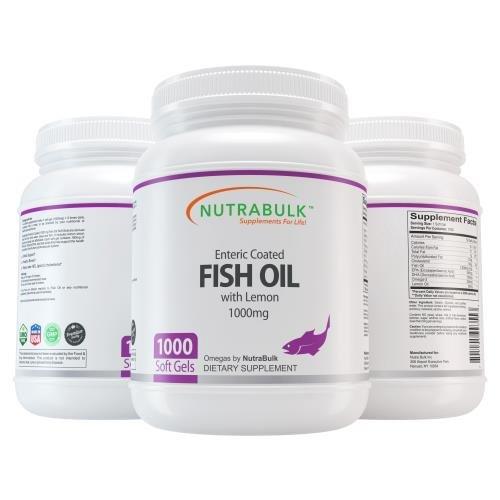 Nutrabulk Enteric Coated Omega-3 Fish Oil 1000mg Soft Gels 1000 Count by NutraBulk
