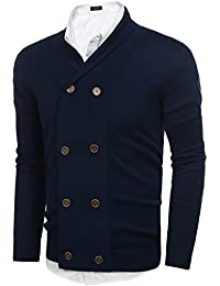 Mens Slim Fit V-Neck Shawl Collar Cardigan Sweaters With Ribbing Edge