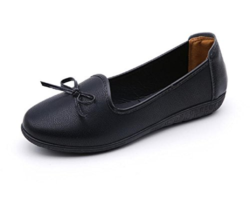 Diabetic Oxford (Kuro&Ardor Pumps For Women Ribbon Low Heel Work Business Flat Shoes Casual (8 US 25.5cm, Small Ribbon))