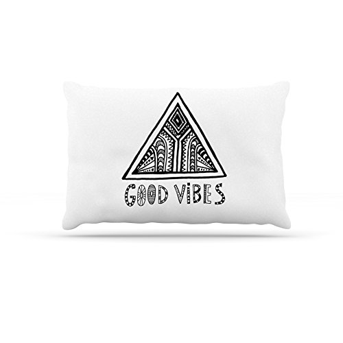 30 by 40\ Kess InHouse Vasare Nar Good Vibes  White Black Fleece Dog Bed, 30 by 40