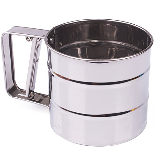(MyLifeUNIT One-Handed Flour Sifter, Stainless Steel Flour Icing Sugar Sifter)