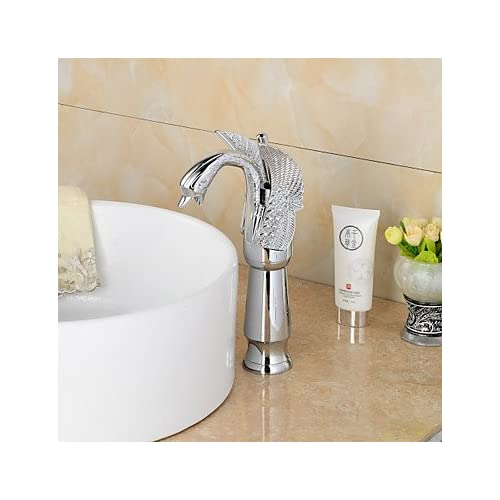 outlet W&P Contemporary chrome Swan-shaped bathroom wash basin faucet (high)-silver