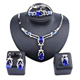 Exquisite Zircon Crystal Necklace Earring Bracelet Ring Bridal Jewelry Sets for Women Gift Party Wedding Prom (Blue)