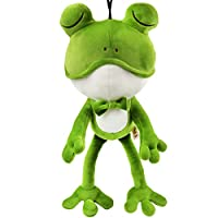Bstaofy Frog Stuffed Animal Lifelike Green Plush Toy Easter Jungle Safari Party Favor Cuddly Huggable Wildlife Companion Home Decoration, 13.7 Inches