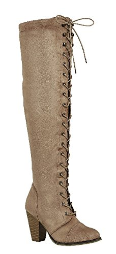 Forever Women's Camila-47 Chunky Heel Lace up Over-The-Knee High Riding Boots, Taupe Suede (6.5)