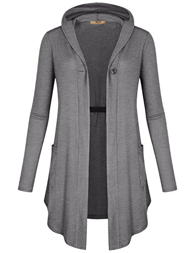 Miusey Hooded Cardigan with Pockets, Women Clothing Hanky Hem Layering Ruffle Baggy Comfy Stretchy Hi Low Pleats Shirred Tunic Sweatshirt Top Light Grey M
