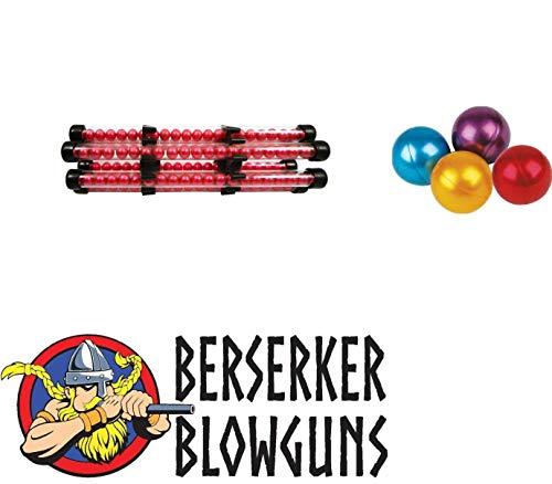 Berserker Blowguns .40 Cal Blowgun Paintball Holder - 6 Tubes with 2 Quivers & 250 Assorted Paintballs ()