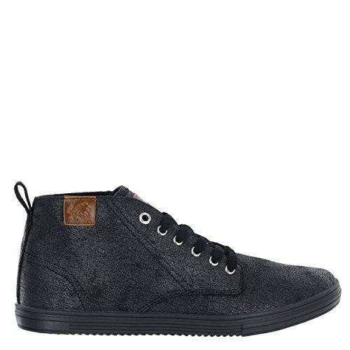Vlado Footwear Heren Leon Mid Top Canvas Sneaker Zwarte Wax
