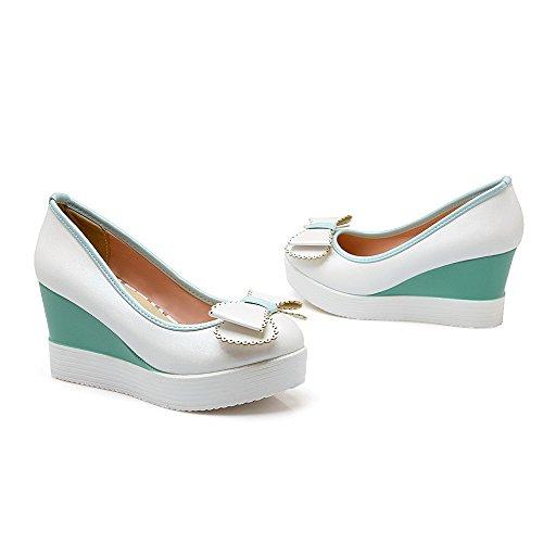 Punta Estraibili calzature Donne Pompe Chiusa Talloni Bianco Su Alti Solido Rotonda Allhqfashion Pu IqgIwBrxS