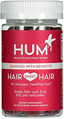 HUM Hair Sweet Hair - Vegan Hair Gummies with 5000mcg Biotin, B Vitamins, Fo-Ti & Zinc (60 Berry Flavored Gummies)