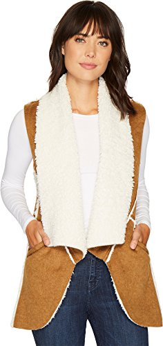 Dylan by True Grit Women's Flannel & Sherpa Road Trip Vest with Pockets Brown/Natural X-Small Road Flannel