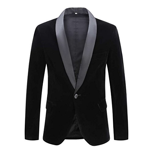 CARFFIV Mens Fashion Velvet Blazer Suit Jacket (Black Shawl Lapel, Tag M/US 38R) by CARFFIV