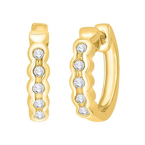 KATARINA Channel Set Diamond Huggie Earring in 14K Yellow Gold (1/10 cttw, G-H, I2-I3)